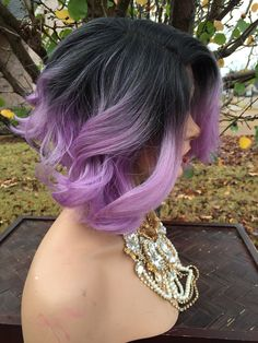 Purple short hair curly wig