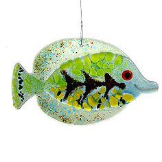Green Tropical Fish Fused Glass Suncatcher