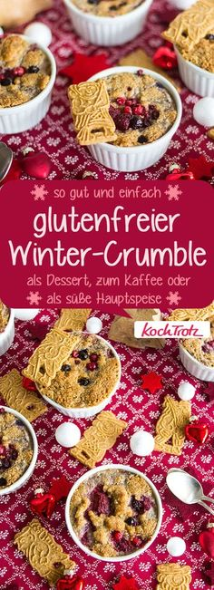 Winter crumble with fruits simple and well tolerated- A great and simple winter dessert. The recipe contains many variations. # gluten free # lactose free # egg free # vegan Informations About Winter-Crumble mit Früchten Winter Desserts, Desserts Végétaliens, Thanksgiving Desserts, Dessert Recipes, Dessert Sans Gluten, Bon Dessert, Gluten Free Desserts, Fodmap, A Food