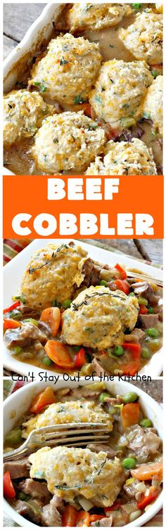 Beef Cobbler | Can't Stay Out of the Kitchen | this sumptuous #beef entree is so hearty, filling and satisfying. It's the perfect comfort food for cold, winter nights. #beefpotpie #biscuits Beef Cobbler, Beef Casserole, Casserole Recipes, Breakfast Casserole, Glass Baking Dish, Beef Pot Pies, Leftover Roast Beef, Beef Recipes, Budget Recipes