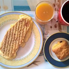 """Someday someone will say """"Monday morning"""" in a good way... Grilled sandwich with lots of melted cheese,  smoked turkey and a nice cheese crust with a chocolate croissant on the side. #thenewbreakfasteverydayproject #livingmylifemyway"""