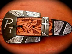 handmade steel and silver with brand Cowboy belt buckle set Custom Belt Buckles, Cowboy Belt Buckles, Cowboy Spurs, Cowboy Gear, Western Belts, Western Wear, Boot Bling, Leather Stamps, Metal Engraving