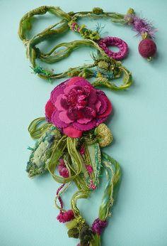 fabric art pendant...lovely!