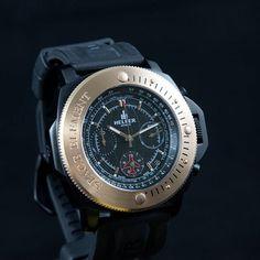 The HelferSpacetimer Chrono timepiece. Sapphire crystal, PVD steel and brass, Swiss Chrono ISA 8371, 30 meters water resistant and 12 years International Warranty. Register your interest now at helferwatches.com.au - Link in Bio. #helferwatchesaus #swissmade