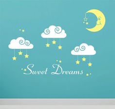 Sweet Dreams wall decal - Clouds Moon Stars - wall decal - wall lettering - baby nursery wall decor on Etsy, 318:47 kr