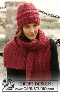 Free knitting patterns and crochet patterns by DROPS Design Knitting Designs, Knitting Patterns Free, Knit Patterns, Free Knitting, Free Pattern, Bonnet Crochet, Crochet Hats, Drops Design, Moss Stitch