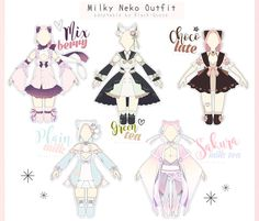 [OPEN] Milky Neko Outfit Adopts | Auction by Black-Quose