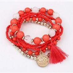 Bohemian Multilayer Candy Color Beads Tassels Bracelet