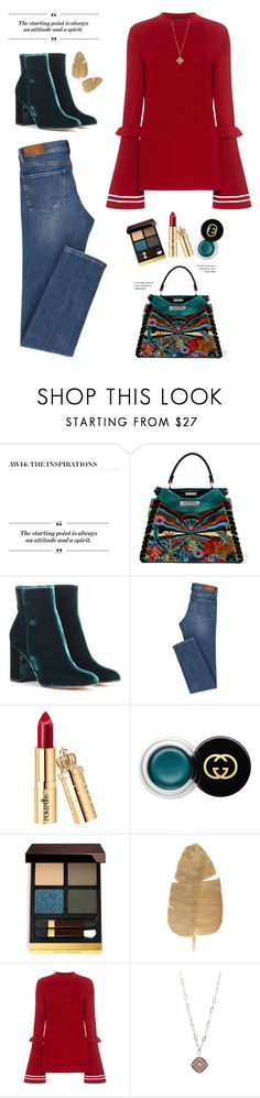 """""""OOTD"""" by yexyka ❤ liked on Polyvore featuring Burberry, Fendi, Gianvito Rossi, Gucci, Tom Ford and Mother of Pearl"""