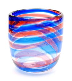 Found on www.botterweg.com - Clear glass Unica vase with blue and purple spiral design Floris Meydam executed by Petr Novotny Novy-Bor / Czech Republic 1989