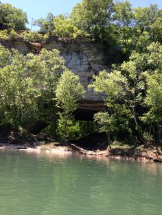 Rock cave formation Cumberland River above Burksville KY