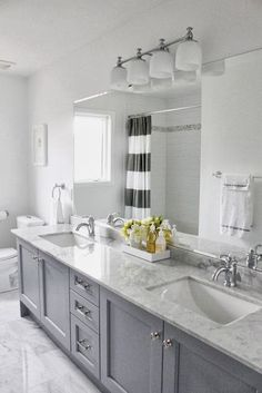Master bath remodel - grey cabinets with carrera marble. Accents: yellow or navy? Grey Bathroom Cabinets, Grey Cabinets, Bathroom Renos, Master Bathroom, Kitchen Cabinets, Master Baths, Family Bathroom, Bathroom Remodeling, Bath Cabinets