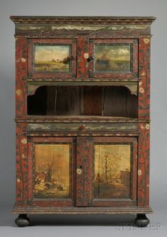 Dutch Polychrome Painted Cupboard, 19th century and later, the molded pediment with panoramic scene of a stag hunt, over two paneled doors enclosing shelved interior, t  ht. 78 3/4, wd. 53, dp. 20 1/2 in.