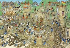 Castle Conflict - Jan van Haasteren Jigsaw Puzzle from Jumbo Dragons, Wheres Wally, Picture Writing Prompts, Château Fort, Creative Pictures, Cartoon Art Styles, Medieval Castle, Middle Ages, Drake