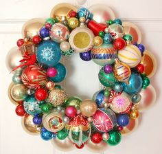 Vintage Ornaments Wreath Shiny Brite Fabulous Would be great with my old bulbs from my childhood. Love it