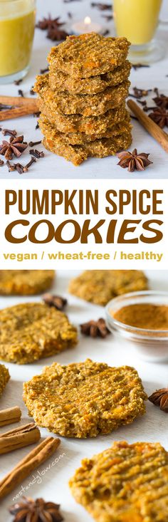 Banana Oat Pumpkin Spiced Cookies Recipe - Easy, Wheat-free, Vegan and Healthy Cookie Recipe With Oil, Pumpkin Spice Cookie Recipe, Oatmeal Cookie Recipes, Easy Cookie Recipes, Dessert Recipes, Dinner Recipes, Healthy Cookies, Healthy Treats, Keto Cookies