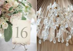Wedding table details and chandelier.