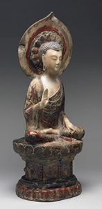Seated Buddha Shakyamuni, the Right Hand in Abhaya Mudra, the Left Hand Holding a Jewel, Chinese, late 6th century. © Harvard Art Museums/Arthur M. Sackler Museum, Bequest of Grenville L. Winthrop Buddhist Meditation, Buddhist Art, Buddhist Teachings, Buddhism, Harvard Art Museum, Hand Holding, Statue, Notes, Museums