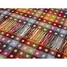 Bronte Merino Lambs Wool Multi Spot Check Throw | Hurn and Hurn