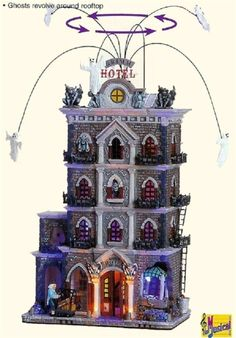 Spooky Town by Lemax The Grimm Hotel Animated Lights Up Halloween NIB Retired