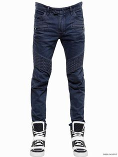 BALMAIN 17CM BLUE INTRECCIATO WOVEN BIKER DENIM JEANS Luisa Via Roma $1,590 – BUY IT NOW