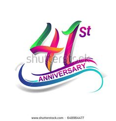 41st anniversary celebration logotype green and red colored. forty one years birthday logo on white background.