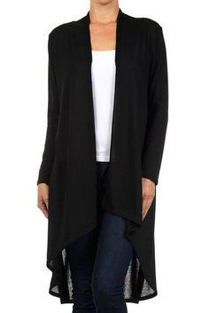 Modern Kiwi Solid Essential Long Cascading Cardigan Black 2X