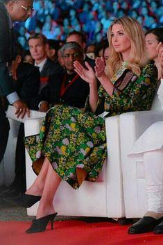 Ivanka Trump wearing Erden Geneva Cutout Pleated Jacquard Midi Dress and Zara High Heel Mules With Bow