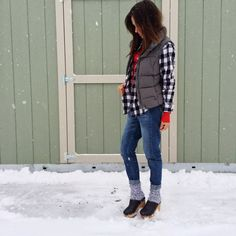 winter outfit snow outfit plaid outfit casual aldo shoes clog outfit boyfriend jeans