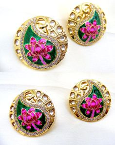 Other Asian E Indian Jewelry 11313: Adorable Gold Polished Colored Enamel Kundan Cz Crafted Studs Earrings BUY IT NOW ONLY: $65.0