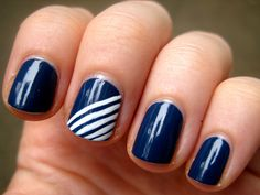 How to Create a Navy and White-Striped Manicure | Makeup.com