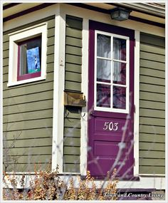 """this purple front door color looks great with the green siding"" I've always loved this look! Purple Front Doors, Purple Door, Front Door Colors, Red Doors, Black Doors, Red Purple, Teal, Exterior Paint Colors For House, Paint Colors For Home"