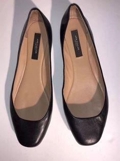 d547e2b06 Women's Ann Taylor SIZE 7.5 Black Leather Slip On Ballet Flats Career Casual