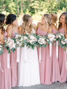 Pink Brides Maid Dresses, Dusky Pink Bridesmaids, Pale Blue Bridesmaid Dresses, Dusky Pink Weddings, Bridesmaid Flowers, Wedding Bridesmaid Dresses, Spring Wedding, Dream Wedding, Marie