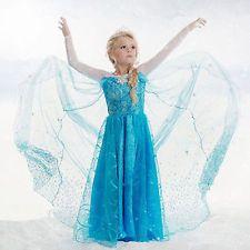 Girls Disney Elsa Frozen dress costume Princess Anna party dresses cosplay