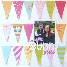 12x12 Scrapbook Layout - My Bunny Girls - 12x12 Paper by Illustrated Faith - cs-getcrafty.com