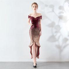 ee6eacf225b Brillante Borgoña Vestidos de noche 2019 Fuera Del Hombro Lentejuelas Manga  Corta Sin Espalda Asimétrico Vestidos