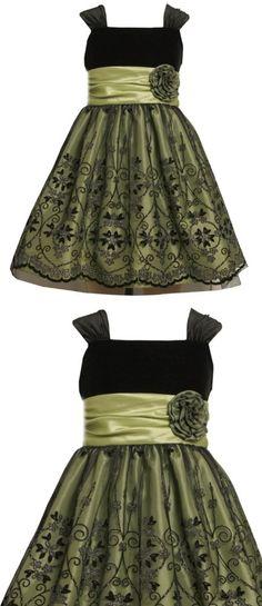 Bonnie Jean Girls 2-6X Stretch Velvet Bodice To Mesh Skirt with Flocking, Green, 5, Stretch velvet bodice to flocked mesh skirt green under skirt, #Apparel, #Skirts, Scooters & Skorts, $51.00