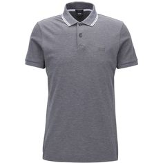 Boss Men's Slim-Fit Pique Cotton Polo ($80) ❤ liked on Polyvore featuring men's fashion, men's clothing, men's shirts, men's polos, grey, mens slim fit polo shirts, mens pique polo shirts, mens gray dress shirt, mens cotton shirts and mens slim shirts