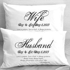 {Don't ya'll go buying all of these!! I want a set and I don't get paid until the 1st!! ;-)} Wife Husband Bible Verse  Pillow Cases 1 Corinthians 13 Love  -  Wedding, Anniversary, gift idea for couples. $30.00