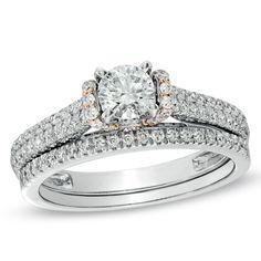 1 CT. T.W. Diamond Bridal Set in 14K Two-Tone Gold