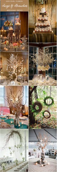 Rustic country wedding dieas - twigs & branches wedding ideas / http://www.deerpearlflowers.com/rustic-wedding-themes-ideas-part-2/2/