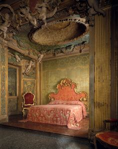 Stuccowork probably by Abbondio Stazio of Massagno (Italian, 1675–1745) and Carpoforo Mazzetti (Italian, ca. 1684–1748). Bedroom from the Sagredo Palace, ca. 1718. Italian, Venice. The Metropolitan Museum of Art, New York. Rogers Fund, 1906 (06.1335.1a–d) | This sumptuous bedroom is one of the finest surviving examples of its period. #OneMetManyWorlds