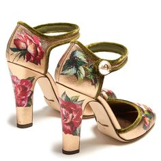 Dolce & Gabbana Floral-print leather pumps ($995) ❤ liked on Polyvore featuring shoes, pumps, block-heel pumps, floral print pumps, ankle strap pumps, floral pumps and green shoes