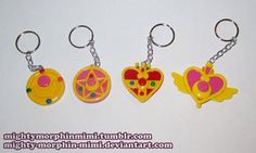 Sailor Moon Brooch Keychains by Mighty-Morphin-Mimi