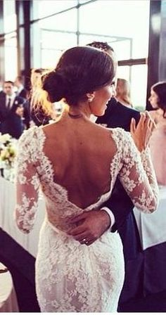 Low back lace wedding dress To view magnificent wedding dresses visit http://www.boutiquebridalconcepts.com/suppliers/wedding-dresses #weddingdresses #weddings: