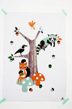 Bos vrienden poster van MissHoneyBird op Etsy, €11.95 #MissHoneybird