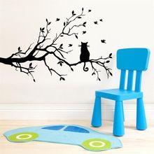 Più nuovo sveglio black cat bird on the tree home decor wall sticker/tv divano parete divertente decorazione di cerimonia nuziale/regalo per i bambini amici(China (Mainland))