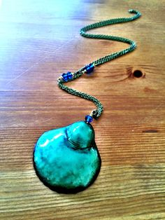Items similar to Preorder only! Aqua blue and sea greea enamel 'Sea Shell' Mermaid long necklace, antic necklace, artisian necklace, OOAK necklace, hand made on Etsy Sea Urchins, Enamel Jewelry, Corals, Sea Creatures, Aqua Blue, Sea Shells, Turquoise Necklace, Copper, Pendant Necklace
