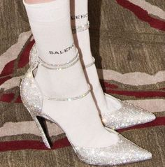 Amazing Outfits : silver glitter pointed toe heels with balenciaga socks Pointed Toe Heels, Stiletto Heels, High Heels, Catty Noir, Mode Shoes, Vogue, Elegantes Outfit, Glitz And Glam, Mode Inspiration